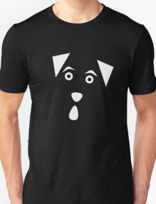 Curious Doggie Graphic - White on Black T-Shirt