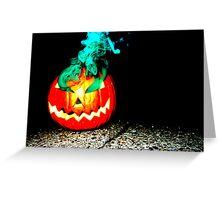 Smoke Bomb Pumpkin - Green Greeting Card
