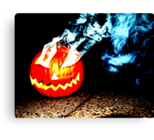 Smoke Bomb Pumpkin - White Canvas Print