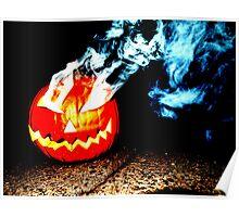 Smoke Bomb Pumpkin - White Poster