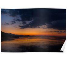 Sunset in Shkodra's lake Poster
