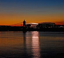 Sunset on Paul Brown Stadium by Mary Carol Story
