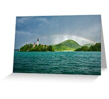Rainbow over Lake Bled Greeting Card