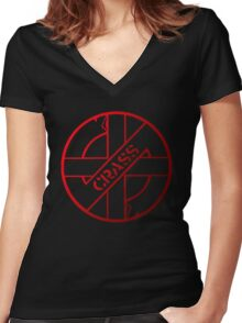 Retro Punk Restyling  Crass Women's Fitted V-Neck T-Shirt