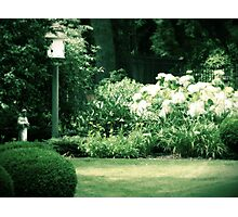 Bird House and Statue garden photography Photographic Print