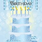 Birthday Cake And Candles Card With Party Ribbon by Moonlake