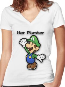 Mushroom Kingdom Couple: Luigi Shirt Women's Fitted V-Neck T-Shirt