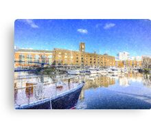 St Katherines Dock London Snow Canvas Print