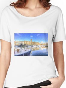 St Katherines Dock London Snow Women's Relaxed Fit T-Shirt