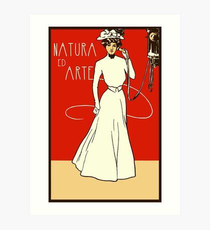Belle epoque lady on the phone, Italian ladies' fashion Art Print