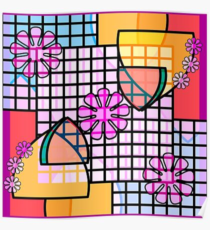 Abstract Flowers, Grids, and Badges in Pink, Blue, Gold Poster