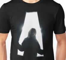 Behind curtains girl Unisex T-Shirt