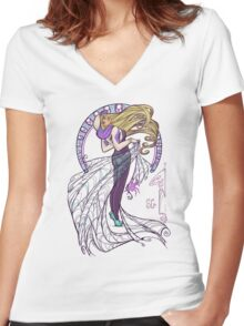 Spider Nouveau Women's Fitted V-Neck T-Shirt