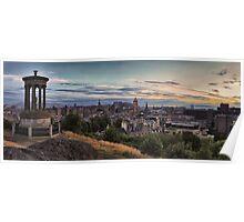 Panoramic Sunset over the City of Edinburgh. Scotland Poster