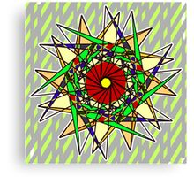 Abstract Pinwheel Triangles in Orange, Green, Red Canvas Print