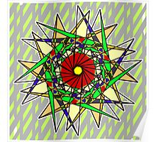 Abstract Pinwheel Triangles in Orange, Green, Red Poster