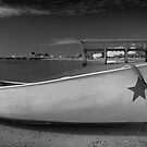 White Boat Black and White Photo by capecodart
