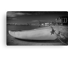 White Boat Black and White Photo Canvas Print