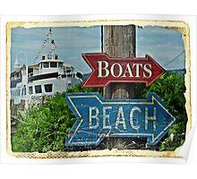 Boats and Beach No. 1 nautical art beach themed bathroom art Poster