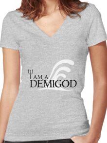 I Am A Demigod Women's Fitted V-Neck T-Shirt