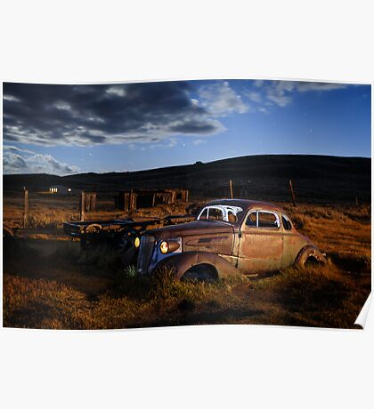 1937 Chevrolet in Bodie at Night Poster