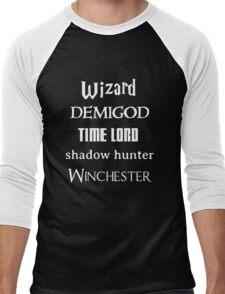 Fandoms: Wizard, Demigod, Time Lord, Shadow Hunter, Winchester Men's Baseball ¾ T-Shirt