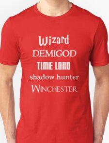 Fandoms: Wizard, Demigod, Time Lord, Shadow Hunter, Winchester Unisex T-Shirt
