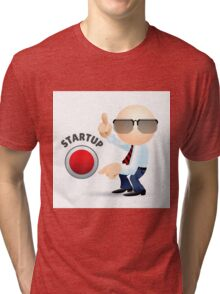 Simplified man with pointing fingers and startup button.  Tri-blend T-Shirt