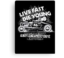 Hot Rod Live Fast Die Young - White (alpha bkground) Canvas Print