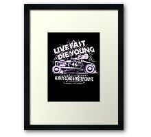 Hot Rod Live Fast Die Young - White & Pink Neon (alpha bkground) Framed Print