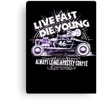 Hot Rod Live Fast Die Young - White & Pink Neon (alpha bkground) Canvas Print