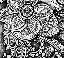 Gorgeous Mandala Damask Art in Black and White Ink Illustration on Watercolor Paper by rozine