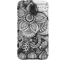 Gorgeous Mandala Damask Art in Black and White Ink Illustration on Watercolor Paper Samsung Galaxy Case/Skin