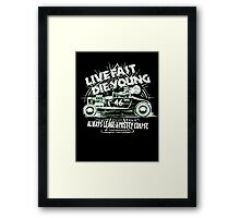 Hot Rod Live Fast Die Young - White & Green Neon (alpha bkground) Framed Print