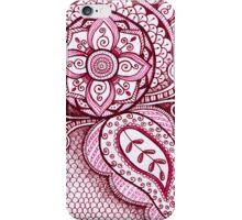 Gorgeous Mandala Damask Art in Hot Pink Ink Illustration on Watercolor Paper iPhone Case/Skin