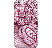 Gorgeous Mandala Damask Art in Hot Pink Ink Illustration on Watercolor Paper iPhone Case/Skin