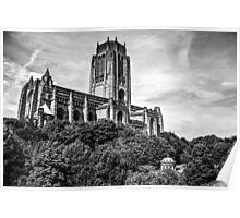 Liverpool Anglican Cathedral Black and White Poster