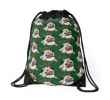 Reindeer Pug Drawstring Bag