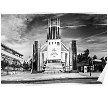 Liverpool Metropolitan Cathedral Black And White Poster