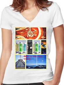 DNA reproduction seeds in space  Women's Fitted V-Neck T-Shirt