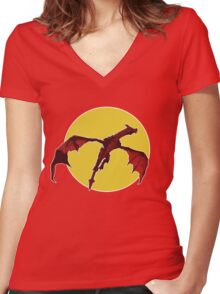 There Be Red Dragons  Women's Fitted V-Neck T-Shirt