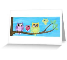 Owl Family on tree II Greeting Card