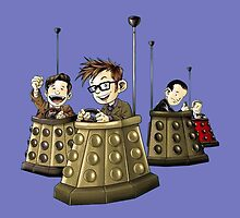 Doctor Who Doctors Riding Daleks by CindyetBilly