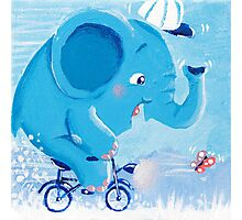 Cycling - Rondy the Elephant on his bike Photographic Print