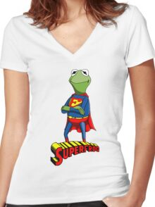 Kermit the Superman Women's Fitted V-Neck T-Shirt