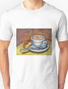 Yellow Dutch Bicycle with Cappuccino and Biscotti Unisex T-Shirt