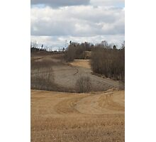 Spring time landscape. Stubble. Ås, Norway. Photographic Print