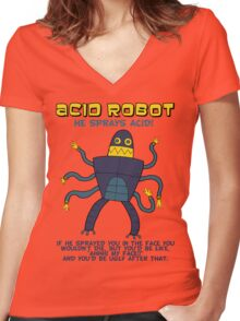 Acid robot - he sprays acid! -- colour Women's Fitted V-Neck T-Shirt