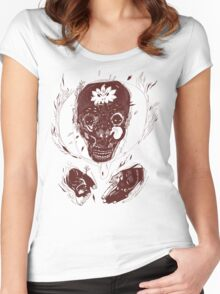 skull on fire Women's Fitted Scoop T-Shirt