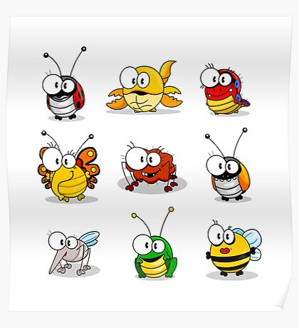Cartoon insects Poster